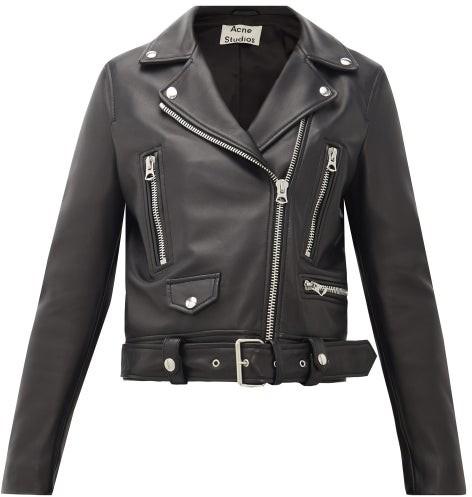 Acne Studios Mock Smooth-leather Biker Jacket - Black