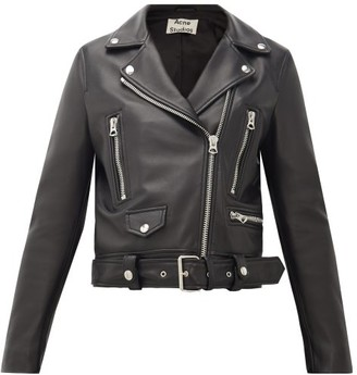 Acne Studios Mock Smooth-leather Biker Jacket - Black