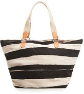 MANGO Canvas striped maxi bag