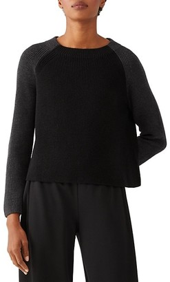 Eileen Fisher Crewneck Contrast Boxy Top