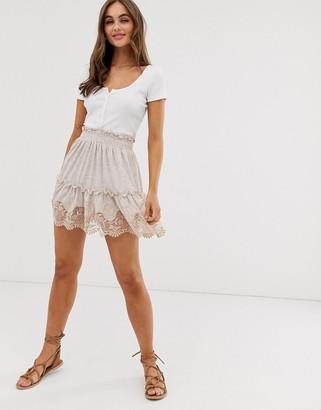 Asos Design DESIGN broderie hem mini skirt with shirred waist-Cream