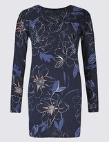Marks and Spencer Floral Print Round Neck Long Sleeve Tunic