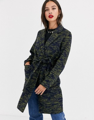 Pieces Jackie Camo Print Lightweight Trench Coat-Green