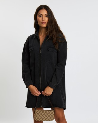 Missguided Denim Utility Shirt Dress