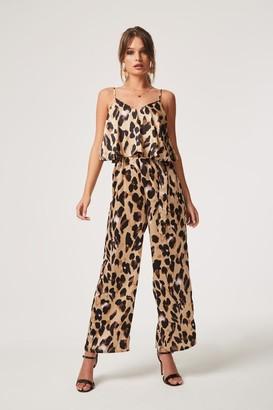 Girls On Film Jetset Leopard Satin Ruffle Overlay Jumpsuit