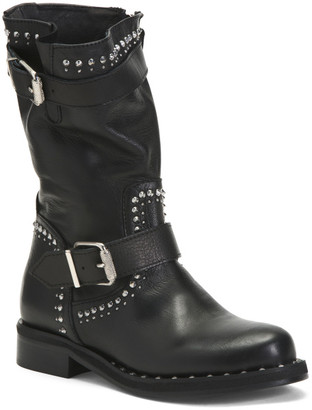 Made In Italy Studded Leather Moto Boots