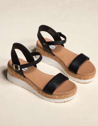 Steve Madden Roselita Cork Womens Black Wedge Sandals