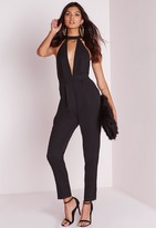 Missguided Tall Choker Neck Romper Black