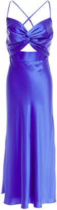 Mason by Michelle Mason Twist-front Cutout Silk-charmeuse Midi Dress
