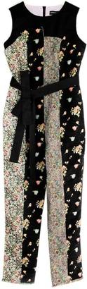 Livia Tang Brushed Cotton & Floral Jacquard Patchwork Jumpsuit