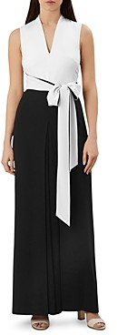 Hobbs London Chloe Color-Block Tie-Waist Jumpsuit