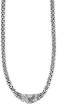 Lagos Sterling Silver Embrace Diamond Station Rope Necklace, 16""