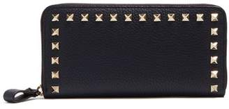 Valentino Rockstud Leather Continental Wallet - Womens - Navy