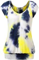 DJT Women's Tie Dye V Neck Short Sleeve T Shirt Tunic Top