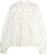 Self-Portrait Crocheted Lace And Cotton-blend Blouse - White