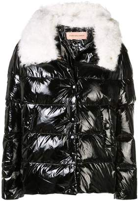 Yves Salomon Shinny Black Quilted Fur Collared Puffer Jacket