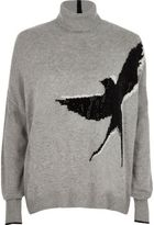 River Island Womens Grey stud embellished bird roll neck jumper