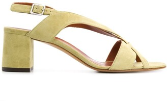 Michel Vivien Cross-Strap Block-Heel Sandals