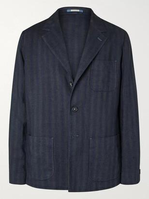 Massimo Alba Unstructured Striped Linen Blazer