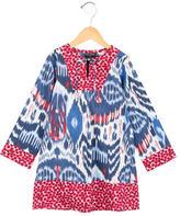 Oscar de la Renta Girls' Abstract Print Long Sleeve Dress w/ Tags