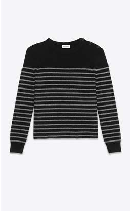 Saint Laurent Sailor-Knit Sweater With Lurex Stripes