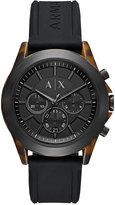 Armani Exchange A|X Men's Chronograph Black Silicone Strap Watch 44mm AX2610