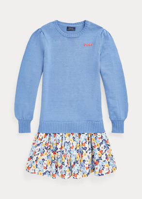 Ralph Lauren Floral-Skirt Cotton Sweater Dress