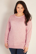 Yours Clothing Pink & White Twist Knitted Longline Jumper