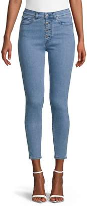HUGO Button Front Cropped Jeans