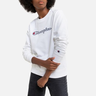 Champion Cotton Embroidered Logo Sweatshirt with Crew-Neck