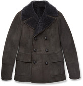Bottega Veneta Slim-fit Double-breasted Shearling Jacket - Brown