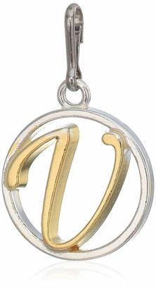 Alex and Ani Women's Initial V Two Tone Charm Sterling Silver