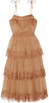 Zimmermann Meridian Circle Lace-trimmed Embroidered Silk-georgette Dress - Camel