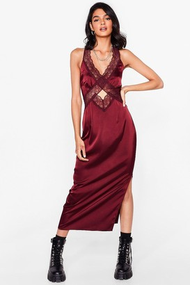 Nasty Gal Womens Lace Give 'Em the Slip Satin Midi Dress - Red - 4
