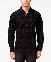 INC International Concepts Men's Festive Flocked Paisley Long-Sleeve Shirt, Only at Macy's