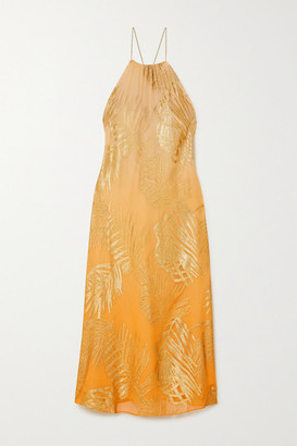 MARIE FRANCE VAN DAMME Metallic Fil Coupe Silk-blend Chiffon Dress - Orange