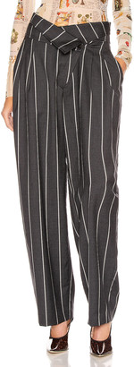 Monse Pinstripe Foldover Pant in Charcoal & Ivory | FWRD