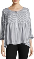 Max Studio 3/4-Sleeve Striped Blouse, Black/White