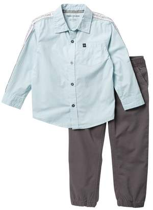 Calvin Klein Woven Shirt & Houndstooth Pants Set (Little Boys)