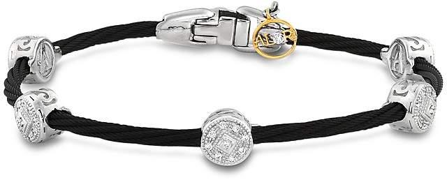 Alor Diamond Stud Black Cable Bangle