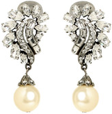 Ben-Amun Pearl and Crystal Cluster Drop Earring