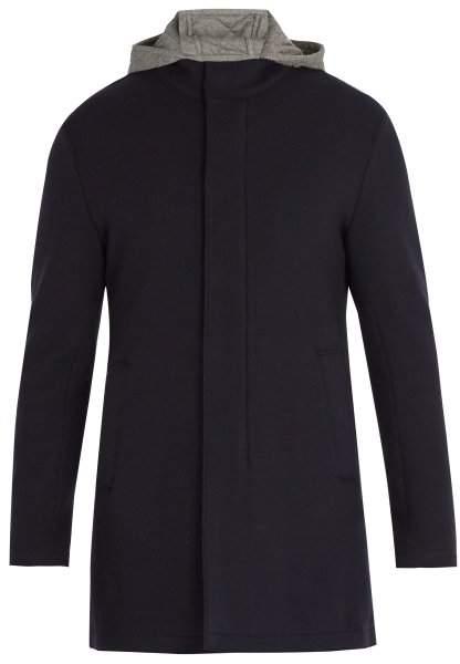 Herno Hooded Wool Blend Overcoat - Mens - Navy