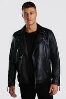 boohoo Mens Black Real Leather Biker Jacket, Black