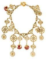 Saint Laurent Medallion Drops Enamel Statement Necklace