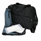 OiOi Carry All Diaper Bag - Black with Gunmetal Diamond Quilt by