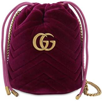 Gucci MINI GG MARMONT 2.0 VELVET BUCKET BAG