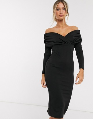 ASOS DESIGN scuba bardot ruched side long sleeve midi dress in black
