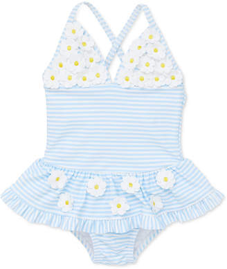 Little Me Baby Girls 1-Pc. Striped Daisy Swimsuit
