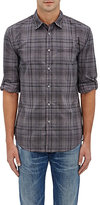 John Varvatos MEN'S COTTON CHAMBRAY SLIM-FIT SHIRT-LIGHT GREY, BLUE SIZE XL
