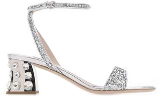 Miu Miu Embellished Ankle Strap Sandals